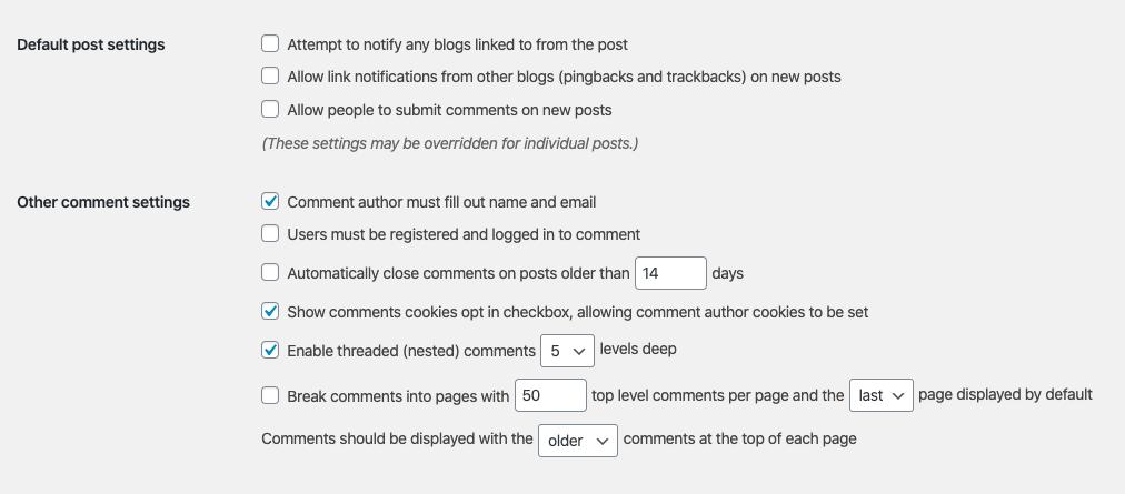 Wordpress comments settings